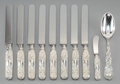 Silver & Vertu:Tiffany, A Ten-Piece Tiffany & Co. Chrysanthemum Pattern Silver Flatware Group, New York, designed 1880. Marks: TIFFANY... (Total: 10 Items)
