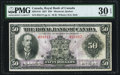 Canadian Currency, Montreal, PQ- Royal Bank of Canada $50 3.1.1927 Ch.# 630-14-16 PMG Very Fine 30 EPQ.. ...