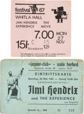 Music Memorabilia:Posters, Jimi Hendrix Experience - A Concert Ticket And A Concert TicketStub For Two European Shows (1967). Rare. ...