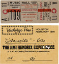 Music Memorabilia:Posters, Jimi Hendrix - Unused Music Hall Concert Ticket And Backstage Pass(1968). Very Rare. ...