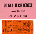 Music Memorabilia:Posters, Jimi Hendrix - A Concert Ticket And Press Pass For Waikiki ShellShow (1969). Rare. ...
