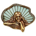 Estate Jewelry:Brooches - Pins, Art Nouveau Diamond, Plique-à-Jour Enamel, Gold Brooch . ...