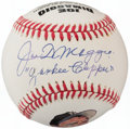 "Autographs:Baseballs, Joe DiMaggio ""Yankee Clipper"" Single Signed Portrait Baseball...."