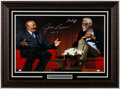 Autographs:Photos, Bill Russell & Jim Brown Dual-Signed Framed Photograph....