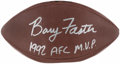 "Autographs:Footballs, Barry Foster ""1992 AFC M.V.P."" Signed Football...."