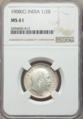 India:British India, India: British India. Edward VII Pair of Certified Rupee Issues 1908-(C) NGC,... (Total: 2 coins)