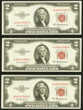 Small Size:Legal Tender Notes, Fr. 1510 $2 1953A Legal Tender Notes. Consecutive Trio. ChoiceCrisp Uncirculated.. ... (Total: 3 notes)