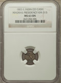 India:British India, India: British India. Madras Presidency 3-Piece Lot of Certified Cash Issues NGC,... (Total: 3 coins)