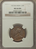 India:British India, India: British India. George V Pair of Certified 1/4 Annas NGC,... (Total: 2 coins)
