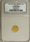 California Fractional Gold: , 1870 $1 Goofy Head Round 1 Dollar, BG-1205, HighR.4,--Damaged--NCS. AU Details. NGC Census: (0/6). PCGS Population(5/29)....