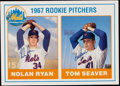 Autographs:Photos, Nolan Ryan and Tom Seaver Dual Signed Oversized Rookie Card. ...