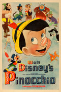 """Movie Posters:Animation, Pinocchio (RKO, 1940). Very Good on Linen. Poster (40"""" X 60"""") StyleA.. ..."""