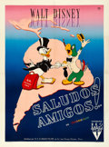 "Movie Posters:Animation, Saludos Amigos (RKO, 1947). Very Fine- on Linen. First Post-War Release French Grande (47"" X 63.25"") Alexis Artwork.. ..."