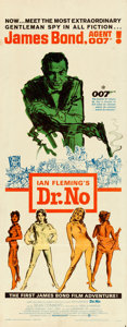"Movie Posters:James Bond, Dr. No (United Artists, 1962). Folded, Very Fine-. Insert (14"" X 36"") Mitchell Hooks Artwork.. ..."