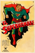 """Movie Posters:Animation, Superman Cartoon Stock (Paramount, 1941). Very Fine- on Linen. Argentinean One Sheet (29"""" X 43.5"""").. ..."""