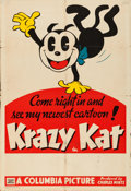 """Movie Posters:Animation, Krazy Kat (Columbia, 1936). Folded, Fine. Stock One Sheet (27"""" X41"""") with Snipe (28"""" X 5"""").. ..."""