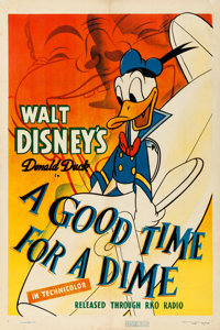 "Donald Duck in A Good Time For a Dime (RKO, 1941). Fine/Very Fine on Linen. One Sheet (27"" X 41"")"
