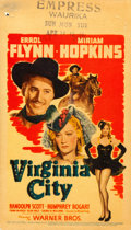"Movie Posters:Western, Virginia City (Warner Brothers, 1940). Very Fine-. Linen Finish Midget Window Card (8"" X 14""). Western.. ..."