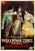 """Movie Posters:Western, When a Woman Strikes (Film Clearing House, 1919). Fine+ on Linen. One Sheet (27.75"""" X 40.75"""").. ..."""