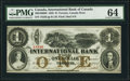 Canadian Currency, Toronto, ON- International Bank of Canada $1 15.9.1858 Ch.#380-10-08-08 PMG Choice Uncirculated 64.. .....