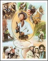 """Roy Rogers Print (Nostalgia Merchant, 1977). Rolled, Near Mint. Autographed Personality Poster (24"""" X 30""""). We..."""