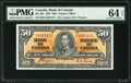 Canadian Currency, BC-26c $50 2.1.1937 PMG Choice Uncirculated 64 EPQ.. ...