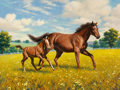Mainstream Illustration, Arthur Saron Sarnoff (American, 1912-2000). Mare and Foal, Iowa Directory cover, 1965-66. Oil on canvas. 36 x 48 in.. Si...