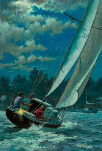 Arthur Saron Sarnoff (American, 1912-2000) Moonlight Sail Oil on canvas 36 x 24 in. Signed low