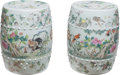 Ceramics & Porcelain, A Pair of Chinese Enameled Porcelain Garden Seats, Republic period. 18 x 14 inches (45.7 x 35.6 cm) (each). ... (Total: 2 Items)