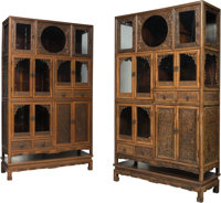A Fine Pair of Chinese Carved Hardwood Display Cabinets on Stands, 20th century 76-1/8 x 44 x 17-1/2 inches (193.... (To...