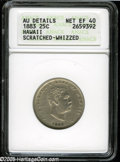 Coins of Hawaii: , 1883 25C Hawaii Quarter XF40--Scratched, Whizzed--ANACS, AUDetails....