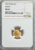 Commemorative Gold, 1922 G$1 Grant Gold Dollar, With Star, MS64 NGC. NGC Census: (325/772). PCGS Population: (596/1515). CDN: $1,100 Whsle. Bid...