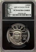 2005-W $100 One-Ounce Platinum Eagle PR70 Ultra Cameo NGC. NGC Census: (397). PCGS Population: (172). CDN: $1,900 Whsle...