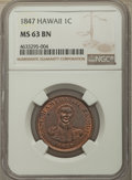 Coins of Hawaii , 1847 1C Hawaii Cent MS63 Brown NGC. M. 2CC-2....