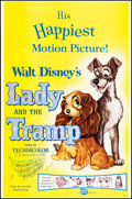 "Movie Posters:Animation, Lady and the Tramp (Buena Vista, R-1962). Folded, Very Fine-. One Sheet (27"" X 41""). Animation.. ..."
