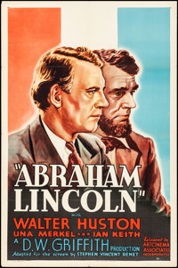 "Abraham Lincoln (Art Cinema Associates, R-1937). Folded, Very Fine-. One Sheet (27"" X 41""). Drama"