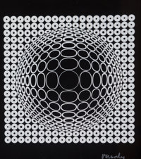 Victor Vasarely (1906-1997) Untitled, c. 1982 Screenprint in black and white on paper 11-1/4 x 10