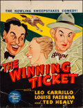 "Movie Posters:Comedy, The Winning Ticket (MGM, 1935) Fine. Trimmed Window Card (14"" X 18""). Al Hirschfeld Artwork. Comedy.. ..."