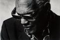 Photographs:Gelatin Silver, Norman Seeff (South African, b. 1939). Ray Charles, 1985. Gelatin silver. 10-5/8 x 15-7/8 inches (27.0 x 40.3 cm). Signe...
