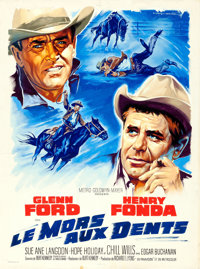 """The Rounders by Roger Soubie (MGM, 1965). Rolled, Fine/Very Fine. Signed Original Gouache Artwork on Paper (47"""" X 6..."""