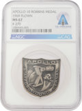 Explorers:Space Exploration, Apollo 10 Flown MS 67 NGC Silver Robbins Medallion, Serial Number 270, Directly From The Armstrong Family Collection™, CAG Cer...