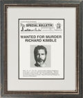 Movie/TV Memorabilia:Props, The Fugitive Screen-Used Richard Kimble Wanted Poster Prop(Warner Bros., 1993)....
