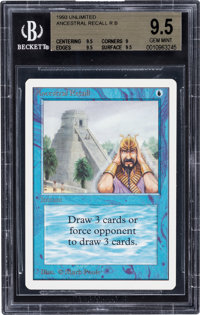 Magic: The Gathering Unlimited Edition Ancestral Recall BGS 9.5 (Wizards of the Coast, 1993)