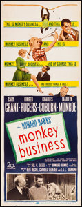 """Movie Posters:Comedy, Monkey Business (20th Century Fox, 1952). Rolled, Fine/Very Fine. Insert (14"""" X 36""""). Comedy.. ..."""