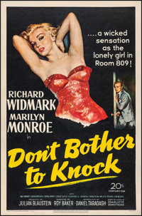 "Don't Bother to Knock (20th Century Fox, 1952). Very Fine- on Linen. One Sheet (27"" X 41""). Film Noir"