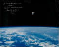 Explorers:Space Exploration, Bruce McCandless Signed Large STS-41-B Untethered Spacewalk Color Photo....