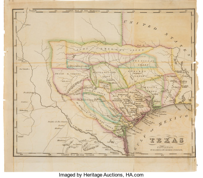 Map Of Texas 1840.Texas Circa 1840 Map By George Conclin Miscellaneous Maps Lot