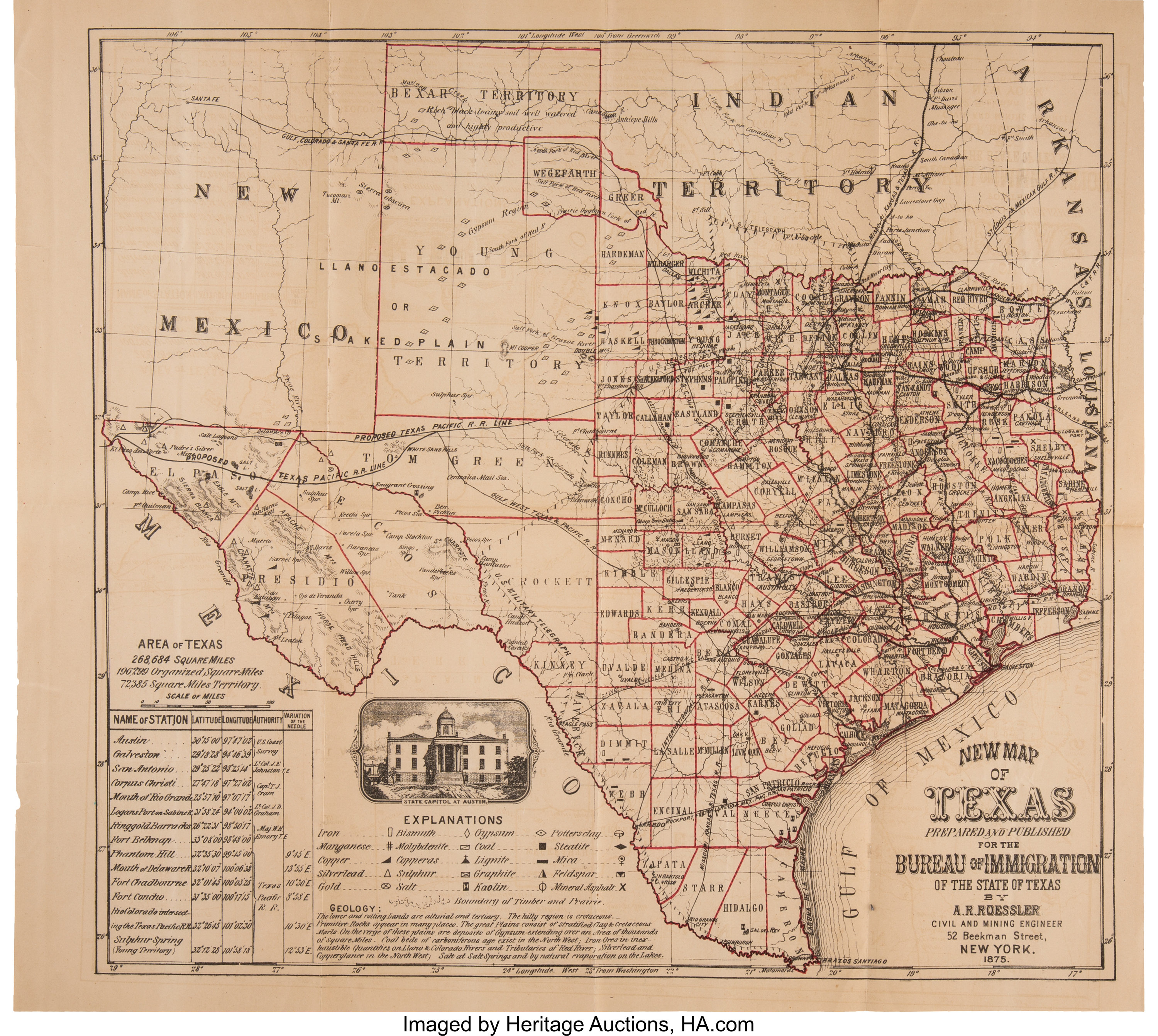 Map Of Texas 99.Texas 1875 Foldout Map By A R Roessler Miscellaneous Maps