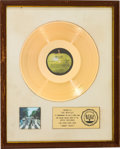 Music Memorabilia:Awards, Beatles Abbey Road RIAA Gold Sales Award White Matte Presented to the Beatles (Apple, SO-383)....