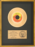 "Music Memorabilia:Awards, Beatles ""Nowhere Man"" RIAA Gold Record Sales Award Presented toJohn Lennon (Capitol 5587). ..."